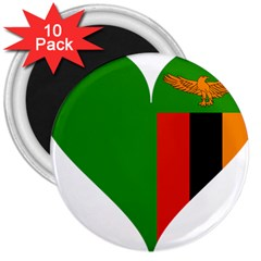 Heart Love Heart Shaped Zambia 3  Magnets (10 Pack)  by Celenk