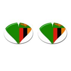 Heart Love Heart Shaped Zambia Cufflinks (oval) by Celenk