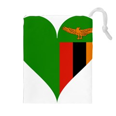 Heart Love Heart Shaped Zambia Drawstring Pouches (extra Large) by Celenk