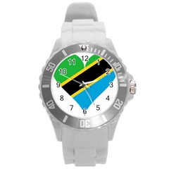 Heart Love Tanzania East Africa Round Plastic Sport Watch (l)
