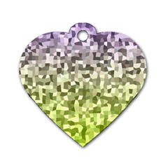 Irregular Rectangle Square Mosaic Dog Tag Heart (one Side) by Celenk