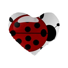 Ladybug Insects Colors Alegre Standard 16  Premium Flano Heart Shape Cushions by Celenk