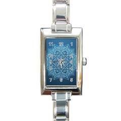 Mandala Floral Ornament Pattern Rectangle Italian Charm Watch by Celenk