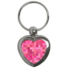 Pink Square Background Color Mosaic Key Chains (heart)  by Celenk
