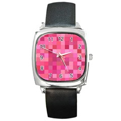 Pink Square Background Color Mosaic Square Metal Watch by Celenk