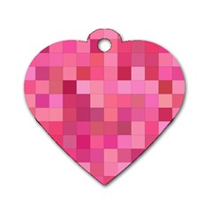Pink Square Background Color Mosaic Dog Tag Heart (two Sides) by Celenk