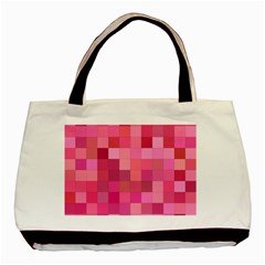 Pink Square Background Color Mosaic Basic Tote Bag (two Sides) by Celenk