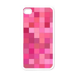 Pink Square Background Color Mosaic Apple Iphone 4 Case (white) by Celenk
