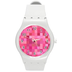 Pink Square Background Color Mosaic Round Plastic Sport Watch (m) by Celenk