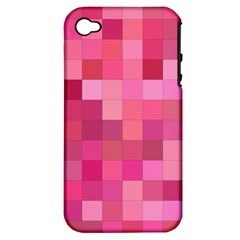 Pink Square Background Color Mosaic Apple Iphone 4/4s Hardshell Case (pc+silicone) by Celenk