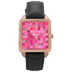 Pink Square Background Color Mosaic Rose Gold Leather Watch  by Celenk