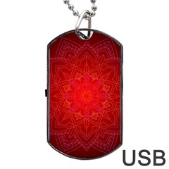 Mandala Ornament Floral Pattern Dog Tag Usb Flash (two Sides) by Celenk