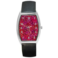 Pattern Background Square Modern Barrel Style Metal Watch by Celenk