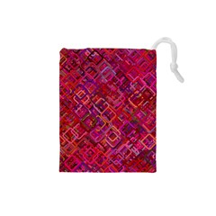 Pattern Background Square Modern Drawstring Pouches (small)  by Celenk