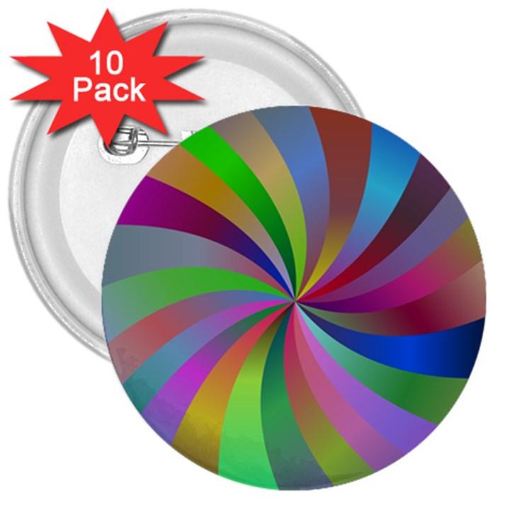 Spiral Background Design Swirl 3  Buttons (10 pack)