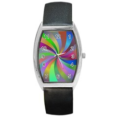 Spiral Background Design Swirl Barrel Style Metal Watch by Celenk