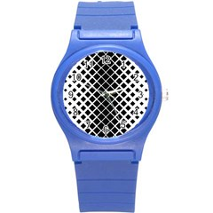 Square Diagonal Pattern Monochrome Round Plastic Sport Watch (s) by Celenk