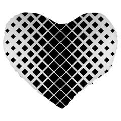Square Diagonal Pattern Monochrome Large 19  Premium Heart Shape Cushions by Celenk