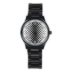 Square Diagonal Pattern Monochrome Stainless Steel Round Watch by Celenk