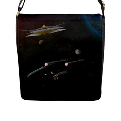 Space Travel Spaceship Space Flap Messenger Bag (l)  by Celenk