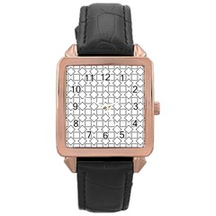 Square Line Stripe Pattern Rose Gold Leather Watch  by Celenk