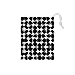 Square Diagonal Pattern Seamless Drawstring Pouches (small)  by Celenk