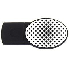 Square Pattern Monochrome Usb Flash Drive Oval (4 Gb) by Celenk