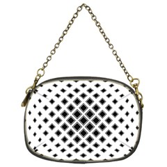 Square Pattern Monochrome Chain Purses (two Sides)  by Celenk