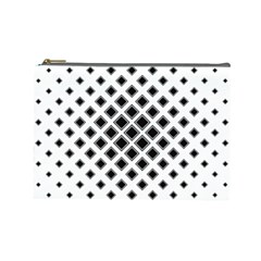 Square Pattern Monochrome Cosmetic Bag (large)  by Celenk