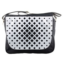 Square Pattern Monochrome Messenger Bags by Celenk