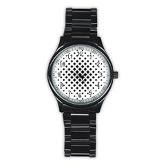 Square Pattern Monochrome Stainless Steel Round Watch by Celenk