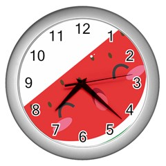 Watermelon Red Network Fruit Juicy Wall Clocks (silver)  by Celenk