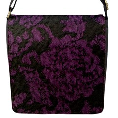 Purple Black Red Fabric Textile Flap Messenger Bag (s) by Celenk