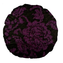 Purple Black Red Fabric Textile Large 18  Premium Flano Round Cushions by Celenk