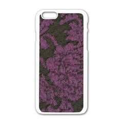 Purple Black Red Fabric Textile Apple Iphone 6/6s White Enamel Case by Celenk
