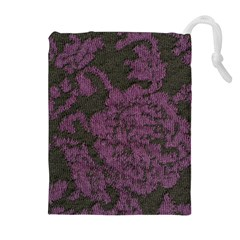 Purple Black Red Fabric Textile Drawstring Pouches (extra Large) by Celenk