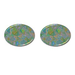 Triangle Background Abstract Cufflinks (oval) by Celenk