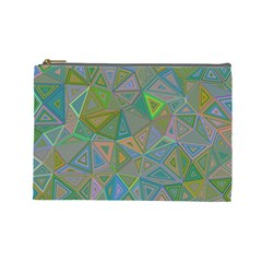 Triangle Background Abstract Cosmetic Bag (large)  by Celenk