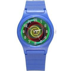 Spiral Vortex Fractal Render Swirl Round Plastic Sport Watch (s) by Celenk