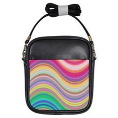 Wave Background Happy Design Girls Sling Bags by Celenk
