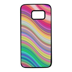 Wave Background Happy Design Samsung Galaxy S7 Black Seamless Case by Celenk