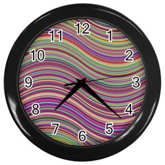 Wave Abstract Happy Background Wall Clocks (black) by Celenk