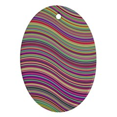 Wave Abstract Happy Background Oval Ornament (two Sides) by Celenk