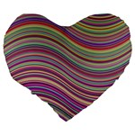 Wave Abstract Happy Background Large 19  Premium Flano Heart Shape Cushions Back