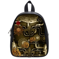 Wonderful Noble Steampunk Design, Clocks And Gears And Butterflies School Bag (small) by FantasyWorld7