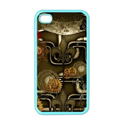 Wonderful Noble Steampunk Design, Clocks And Gears And Butterflies Apple Iphone 4 Case (color) by FantasyWorld7