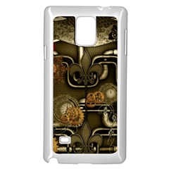 Wonderful Noble Steampunk Design, Clocks And Gears And Butterflies Samsung Galaxy Note 4 Case (white) by FantasyWorld7