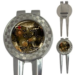 Wonderful Noble Steampunk Design, Clocks And Gears And Butterflies 3 In 1 Golf Divots by FantasyWorld7