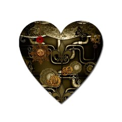 Wonderful Noble Steampunk Design, Clocks And Gears And Butterflies Heart Magnet by FantasyWorld7