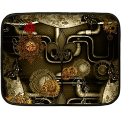 Wonderful Noble Steampunk Design, Clocks And Gears And Butterflies Double Sided Fleece Blanket (mini)  by FantasyWorld7